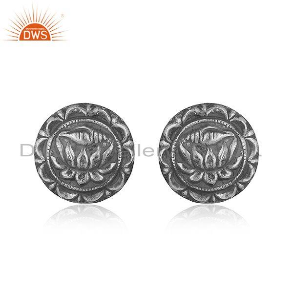 Lotus design textured tribe oxidised sterling silver 925 studs