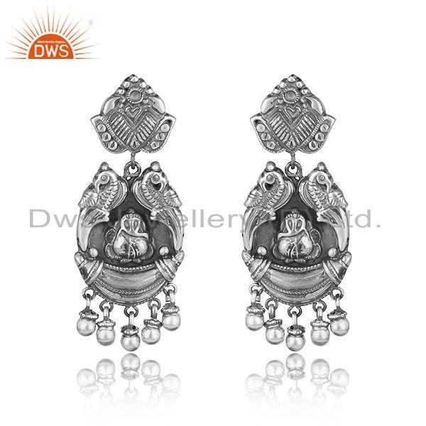 Ganesha design textured traditional dangle in oxidized silver 925