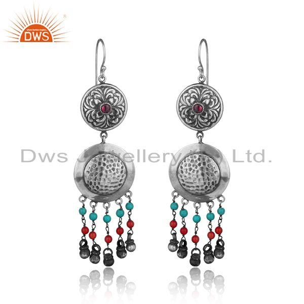 Tribal design textured multi color bead earring in oxidized silver