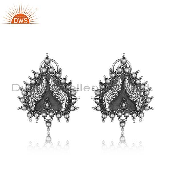 Handcrafted artistic tribal textured stud in oxidized silver 925