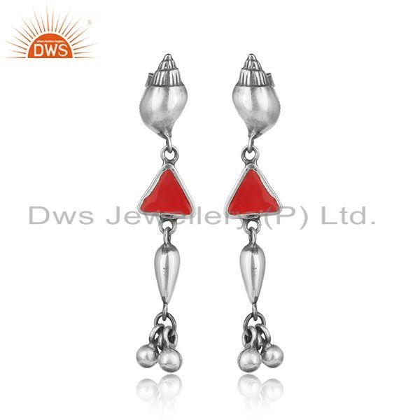 Designer conch long dangle in oxidized silver 925 and red enamel
