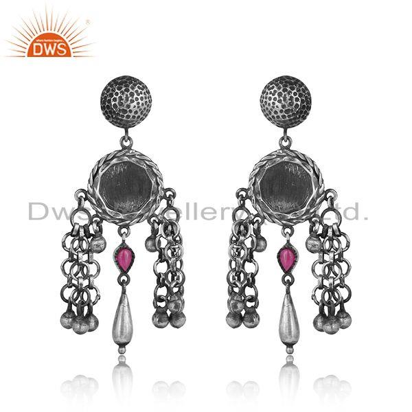 Tribal design textured red stone earring in oxidized silver 925