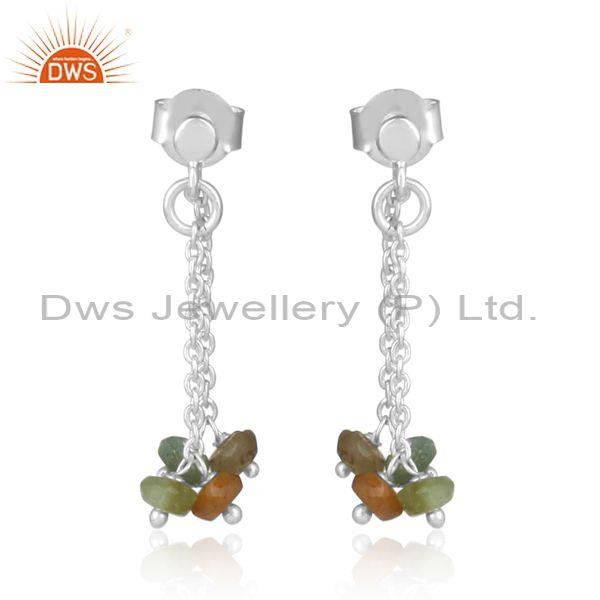 Multi Tourmaline Faceted Beads Set Chain Silver Earrings