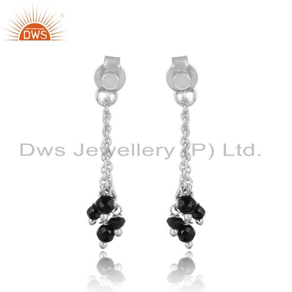 Handcrafted long chain sterling silver 925 black onyx bead earring