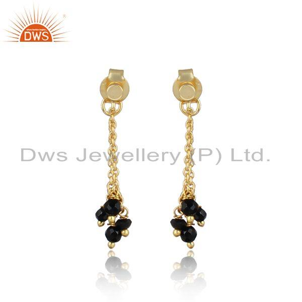 Handcrafted long chain gold on silver black onyx bead earring