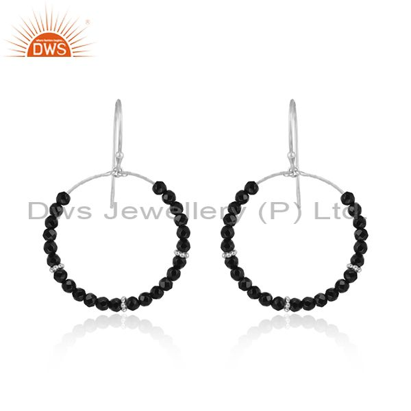 Designer handmade sterling silver 925 black onyx dangle hoop