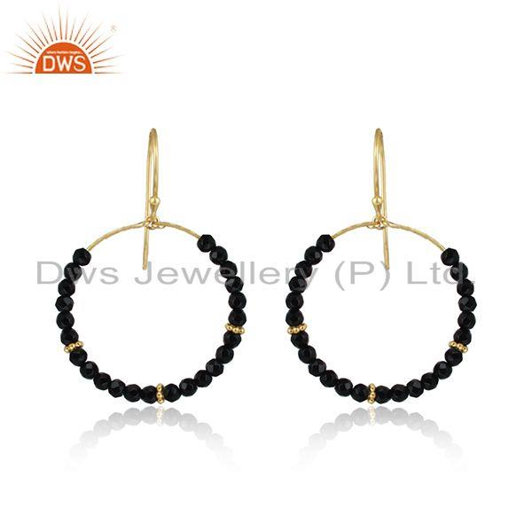 Designer handmade gold on silver 925 black onyx dangle hoop