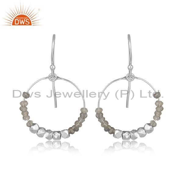 Labradorite Faceted Set White Sterling Silver Round Earrings