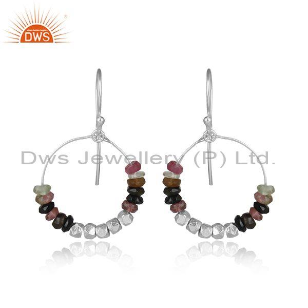 Multi Tourmaline Faceted Beads White Silver Round Earrings