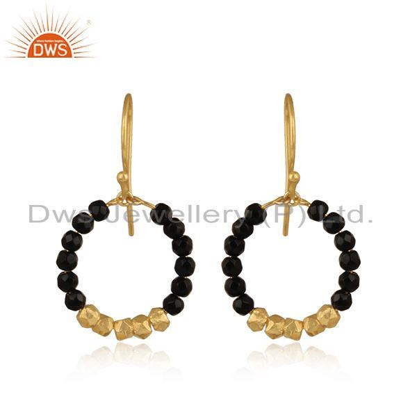 Handmade designer gold on silver 925 black onyx bead hoop