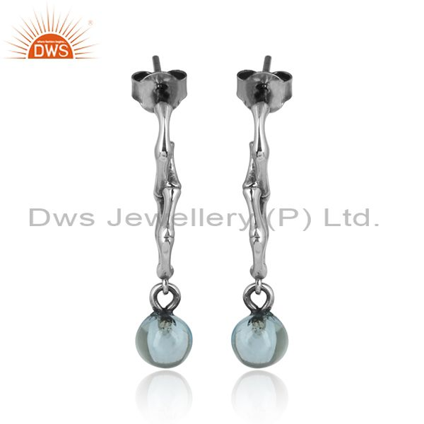 Blue Topaz Set Handmade Oxidized Silver Long Drop Earrings