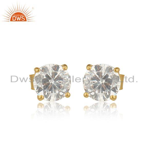 Handcrafted solitaire dainty gold on silver cubic zircon studs