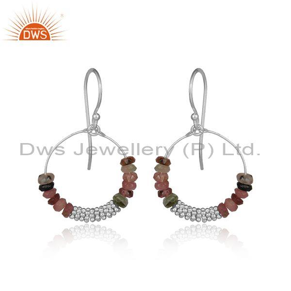 Multi Tourmaline Beads Sterling Silver Round Hoop Earrings