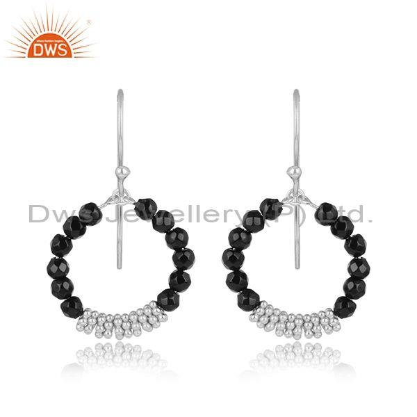 Black Onyx Beads Set Fine 925 Sterling Silver Round Earrings