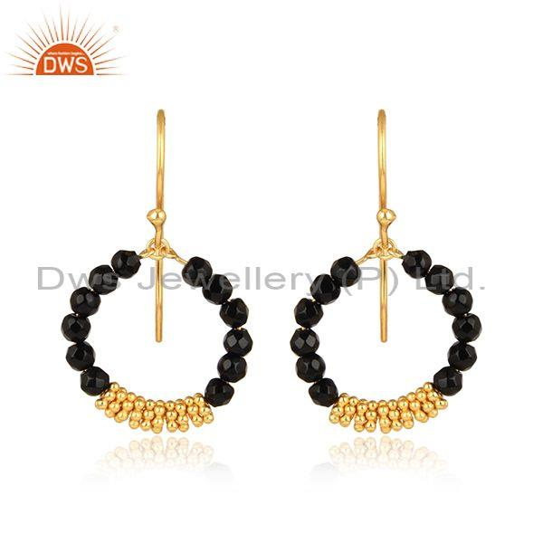 Black onyx beads set gold on silver ear wire round earrings