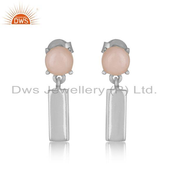 Handcrafted sterling silver bar dangle earring with pink opal