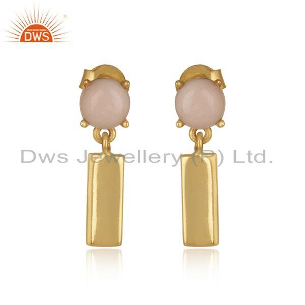 Handcrafted yellow gold on silver bar dangle earring with pink opal