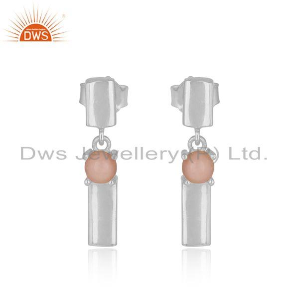 Designer handmade sterling silver bar dangle earring with pink opal