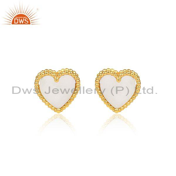 Mother Of Pearl Coin Set Gold On Silver Heart Shape Earrings