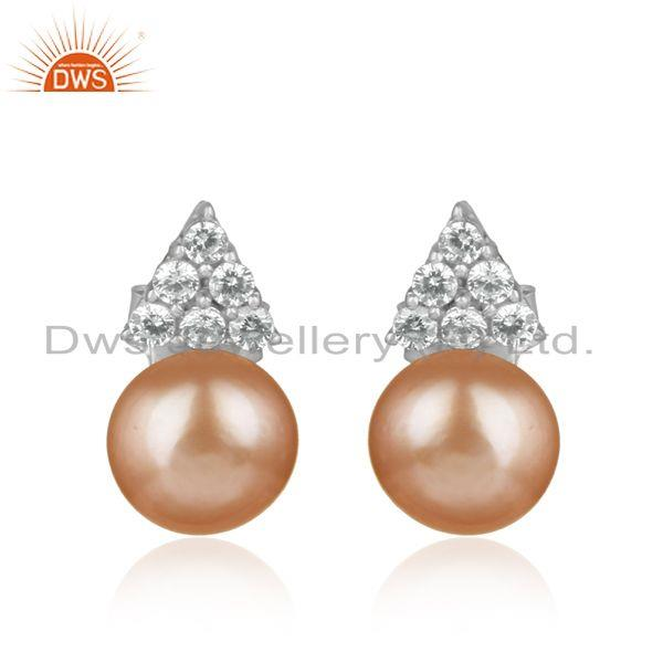 Classic design rhodium on silver 925 stud with cz and pink pearl