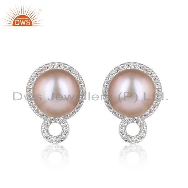 Designer dainty studs in rhodium on silver with gray pearl and cz
