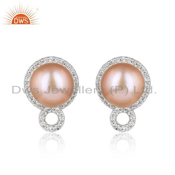 Designer Dainty Studs in Rhodium on Silver with Pink Pearl and Cz