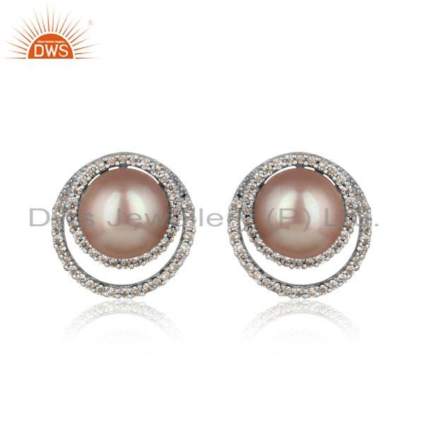 Designer pave cz rhodium on silver 925 studs with gray pearl