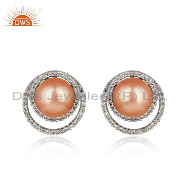 Designer Pave Cz Rhodium on Silver 925 Studs with Pink Pearl