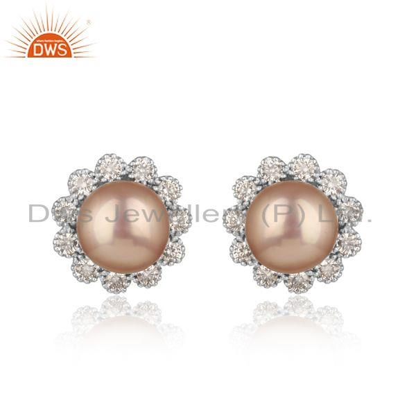 Designer Floral Rhodium On Silver 925 Stud with Gray Pearl and Cz