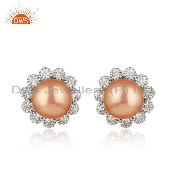 Designer floral rhodium on silver 925 stud with pink pearl and cz