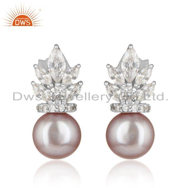 Floral Designer Gray Pearl and Cz Stud in Rhodium on Silver 925