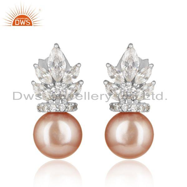 Designer White Rhodium on Silver 925 Earring with Cz and Pink Pearl
