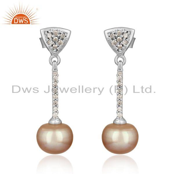 Designer rhodium on silver pave bar dangle with cz and gray pearl