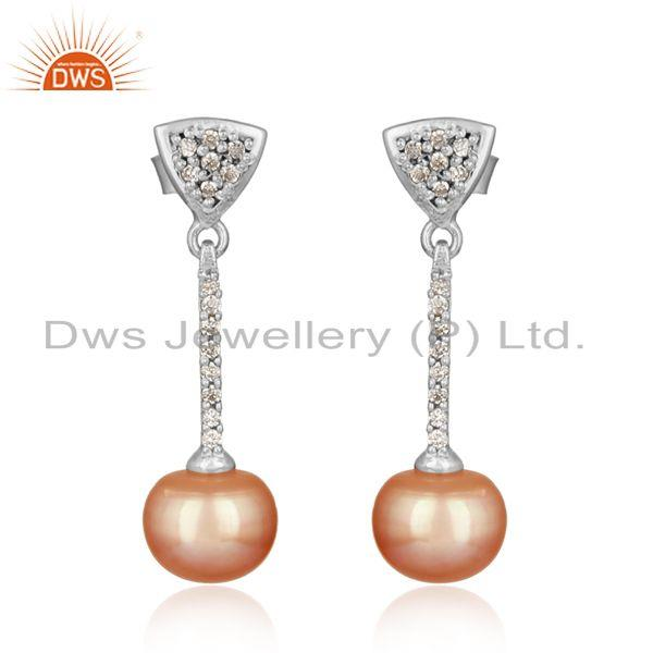 Designer Rhodium on Silver Pave Bar Dangle with Cz and Pink Pearl