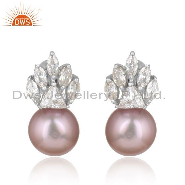 Equisite designer rhodium on silver earring with cz and gray pearl