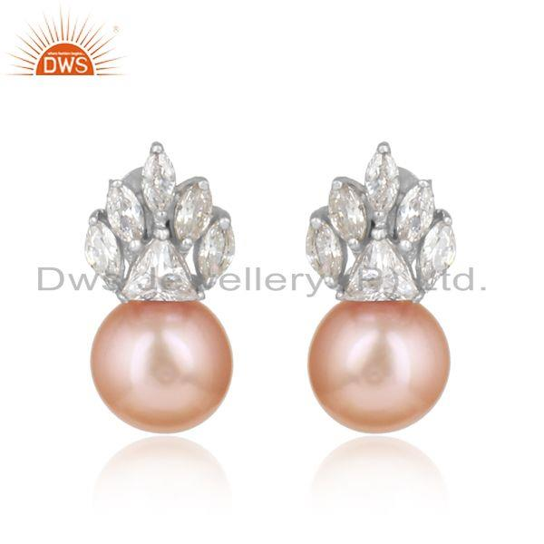 Equisite Designer Rhodium on Silver Earring with Cz and Pink Pearl