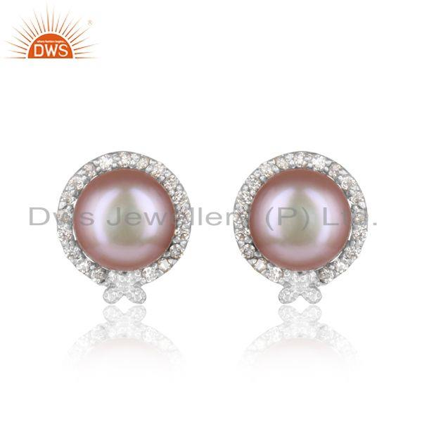 Designer Rhodium On Silver 925 Elegant Stud with Gray Pearl and Cz
