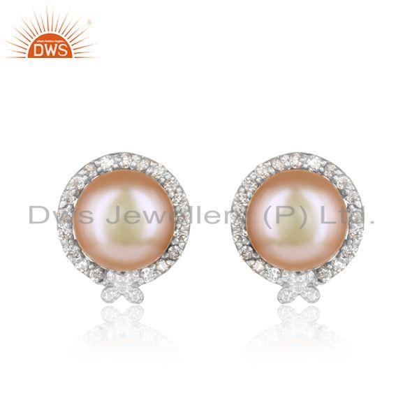 Designer Rhodium On Silver 925 Elegant Stud with Pink Pearl and Cz