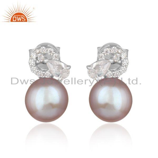 Designer Trendy Rhodium on Silver 925 Studs with Cz and Gray Pearl