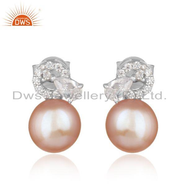 Designer Trendy Rhodium on Silver 925 Studs with Cz and Pink Pearl