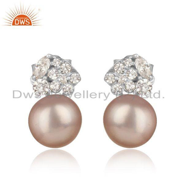Spring Designer Rhodium On Silver 925 Stud with Gray Pearl and Cz
