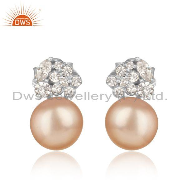 Spring designer rhodium on silver 925 stud with pink pearl and cz