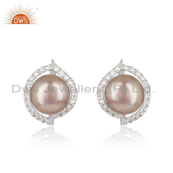 Dainty designer rhodium on silver 925 studs with cz and gray pearl