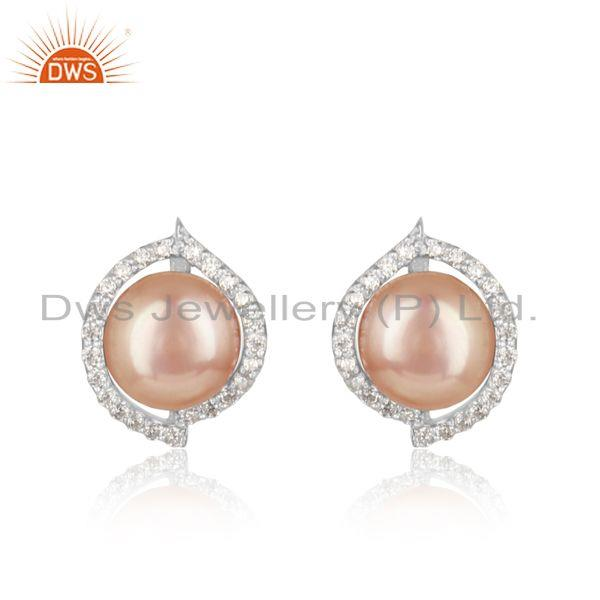 Dainty Designer Rhodium on Silver 925 Studs with Cz and Pink Pearl
