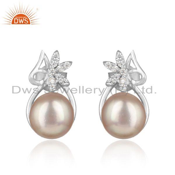 Floral Designer Rhodium on Silver 925 Studs with Cz and Gray Pearl