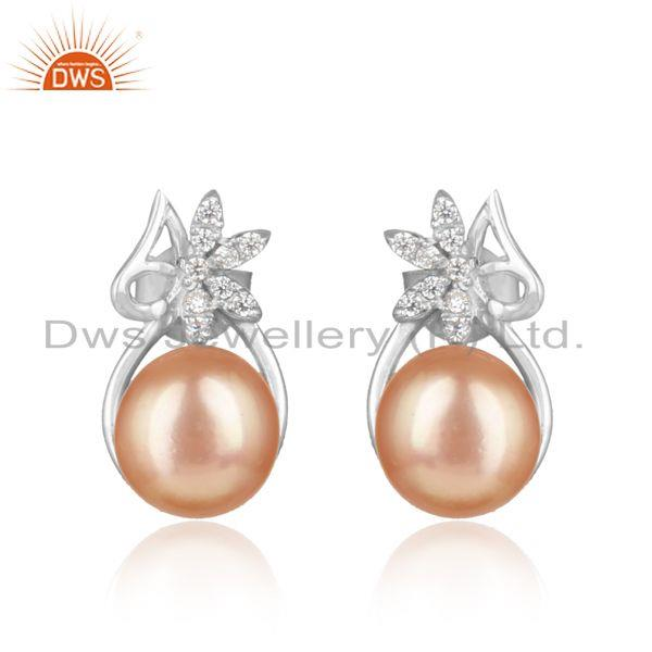 Floral designer rhodium on silver 925 studs with cz and pink pearl