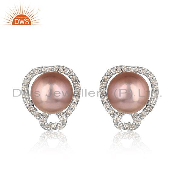 Elegant tiny design pave cz rhodium on silvr stud with gray pearl