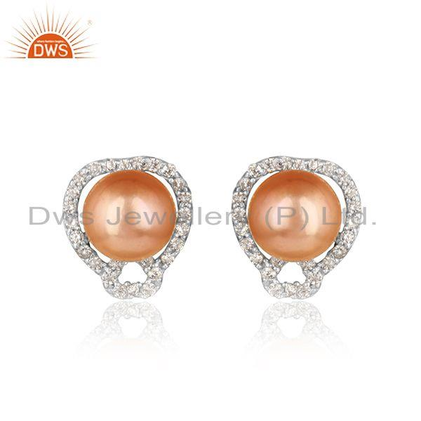 Elegant tiny design pave cz rhodium on silvr stud with pink pearl