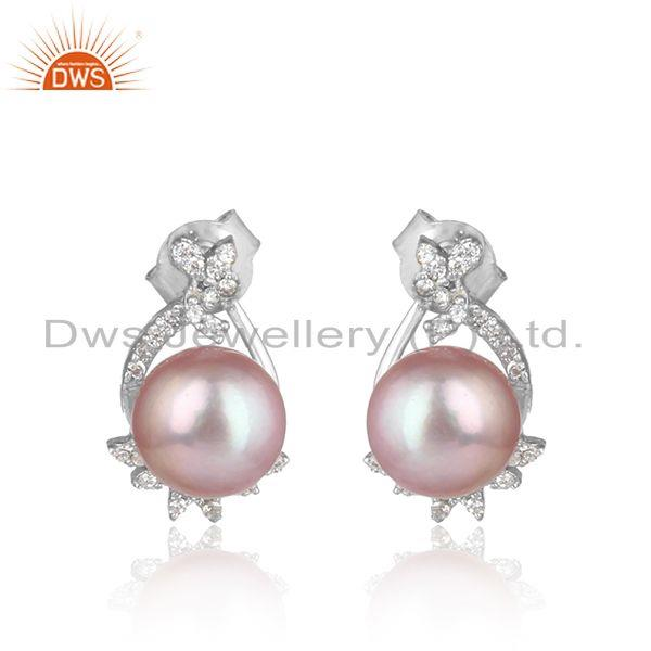 Trendy Design Rhodium on Silver 925 Studs with Cz and Gray Pearl
