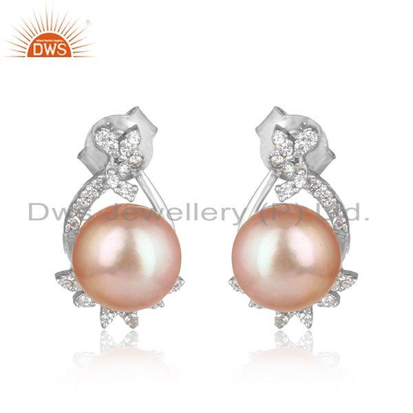 Trendy Design Rhodium on Silver 925 Studs with Cz and Pink Pearl